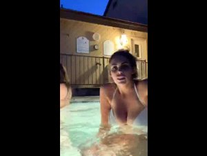 Trinity askmeaboutmysnap teasing big boobs with friends on pool 07/05/19